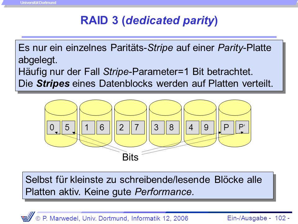 Ein-/Ausgabe - 102 - P. Marwedel, Univ. Dortmund, Informatik 12, 2006 Universität Dortmund RAID 3 (dedicated parity) Es nur ein einzelnes Paritäts-Str
