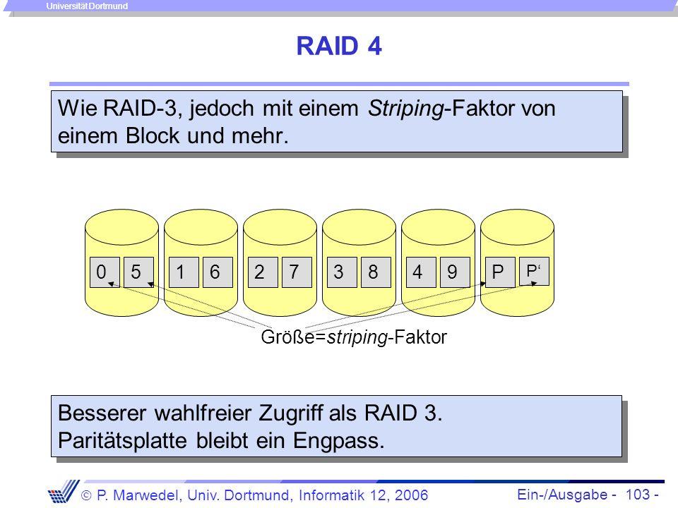 Ein-/Ausgabe - 103 - P. Marwedel, Univ. Dortmund, Informatik 12, 2006 Universität Dortmund RAID 4 Wie RAID-3, jedoch mit einem Striping-Faktor von ein