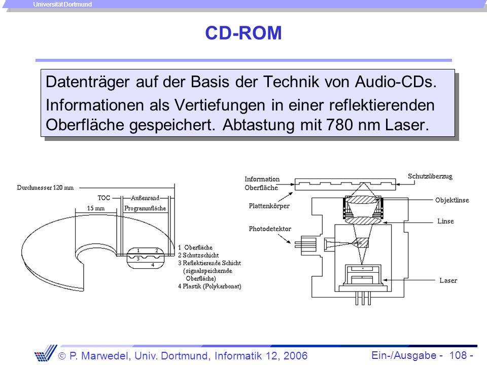 Ein-/Ausgabe - 108 - P. Marwedel, Univ. Dortmund, Informatik 12, 2006 Universität Dortmund CD-ROM Datenträger auf der Basis der Technik von Audio-CDs.