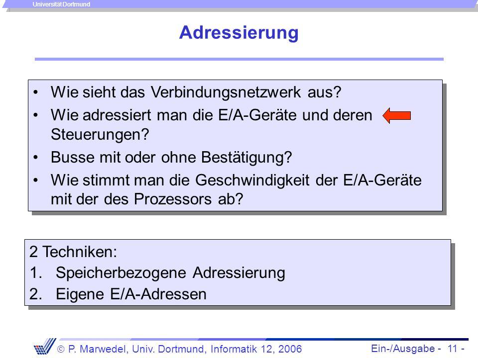 Ein-/Ausgabe - 11 - P. Marwedel, Univ. Dortmund, Informatik 12, 2006 Universität Dortmund Wie sieht das Verbindungsnetzwerk aus? Wie adressiert man di
