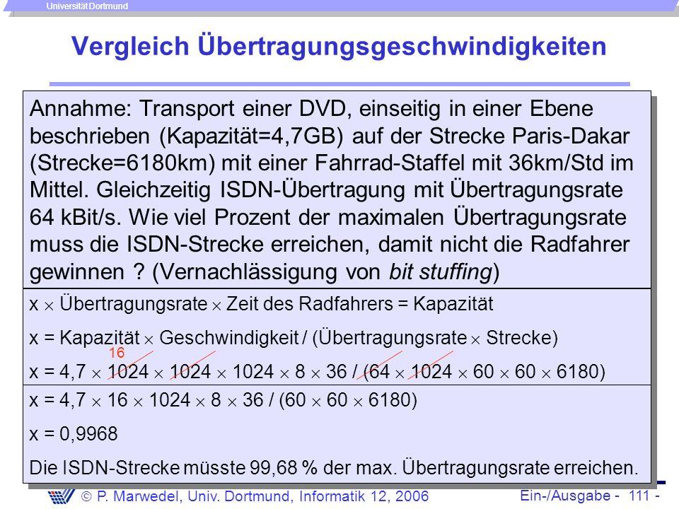 Ein-/Ausgabe - 111 - P. Marwedel, Univ. Dortmund, Informatik 12, 2006 Universität Dortmund Annahme: Transport einer DVD, einseitig in einer Ebene besc