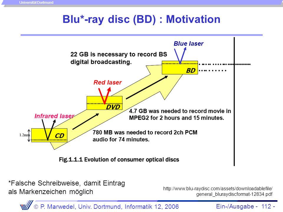 Ein-/Ausgabe - 112 - P. Marwedel, Univ. Dortmund, Informatik 12, 2006 Universität Dortmund Blu*-ray disc (BD) : Motivation http://www.blu-raydisc.com/