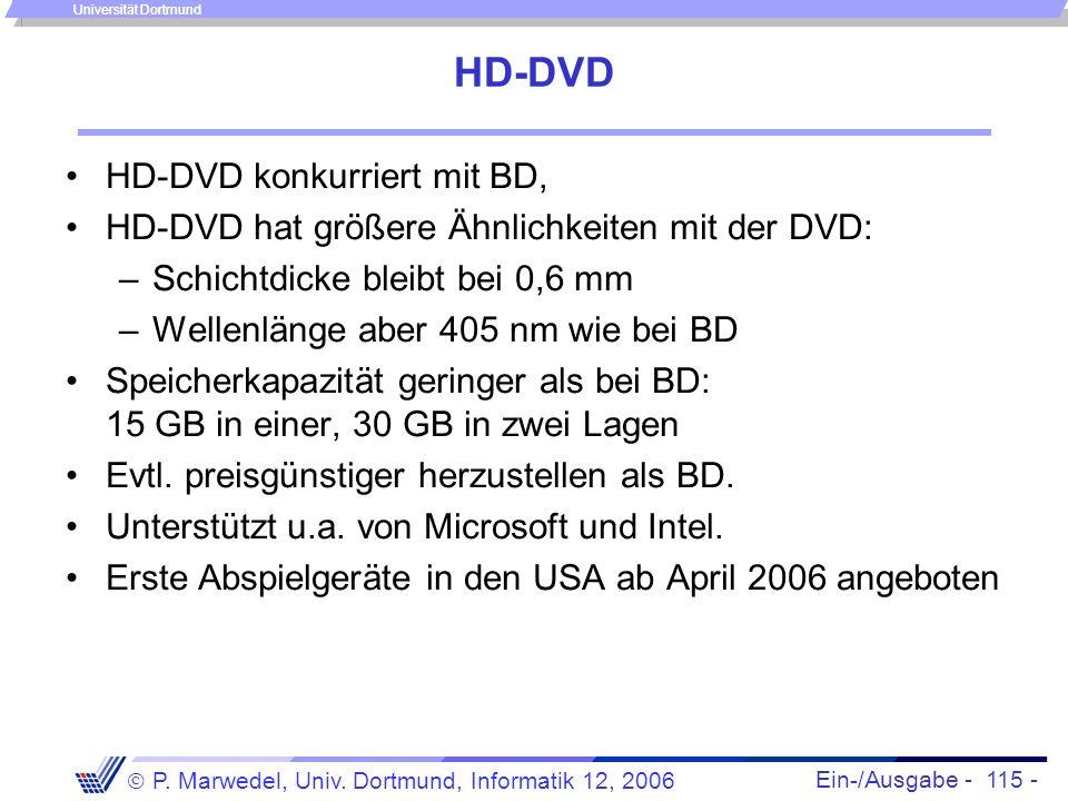 Ein-/Ausgabe - 115 - P. Marwedel, Univ. Dortmund, Informatik 12, 2006 Universität Dortmund HD-DVD HD-DVD konkurriert mit BD, HD-DVD hat größere Ähnlic