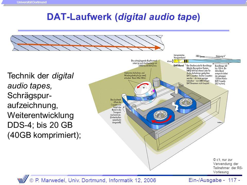 Ein-/Ausgabe - 117 - P. Marwedel, Univ. Dortmund, Informatik 12, 2006 Universität Dortmund DAT-Laufwerk (digital audio tape) © ct, nur zur Verwendung