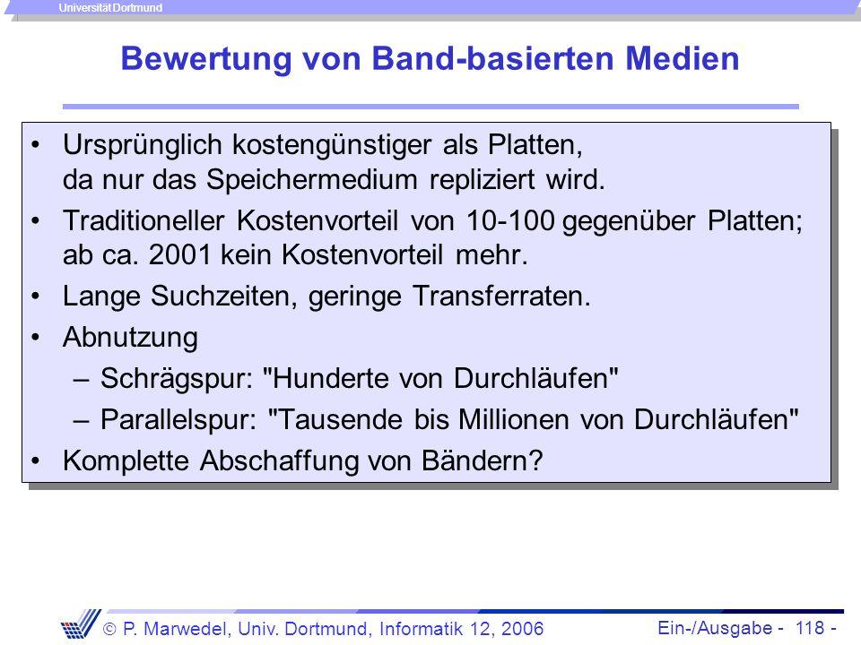 Ein-/Ausgabe - 118 - P. Marwedel, Univ. Dortmund, Informatik 12, 2006 Universität Dortmund Bewertung von Band-basierten Medien Ursprünglich kostengüns