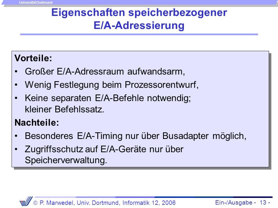 Ein-/Ausgabe - 13 - P. Marwedel, Univ. Dortmund, Informatik 12, 2006 Universität Dortmund Eigenschaften speicherbezogener E/A-Adressierung Vorteile: G