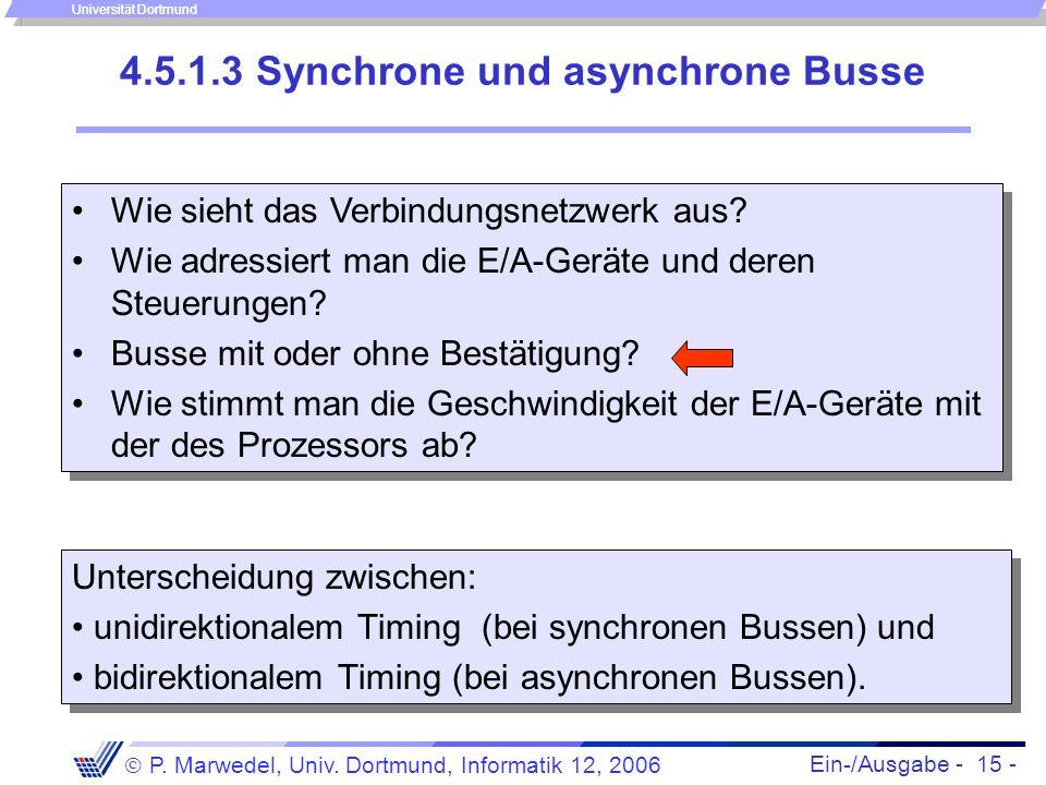 Ein-/Ausgabe - 15 - P. Marwedel, Univ. Dortmund, Informatik 12, 2006 Universität Dortmund 4.5.1.3 Synchrone und asynchrone Busse Unterscheidung zwisch