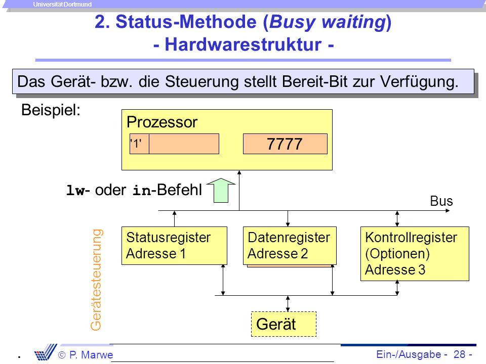 Ein-/Ausgabe - 28 - P. Marwedel, Univ. Dortmund, Informatik 12, 2006 Universität Dortmund 2. Status-Methode (Busy waiting) - Hardwarestruktur - Das Ge
