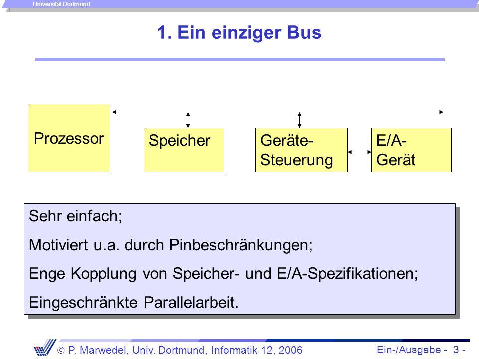 Ein-/Ausgabe - 3 - P. Marwedel, Univ. Dortmund, Informatik 12, 2006 Universität Dortmund 1. Ein einziger Bus Prozessor SpeicherGeräte- Steuerung E/A-