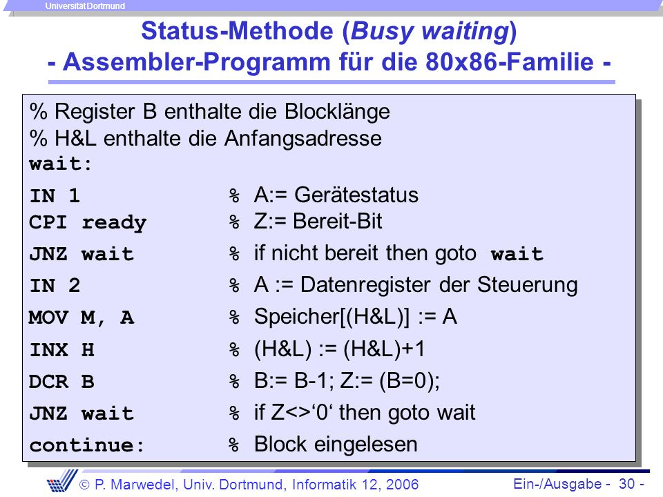 Ein-/Ausgabe - 30 - P. Marwedel, Univ. Dortmund, Informatik 12, 2006 Universität Dortmund Status-Methode (Busy waiting) - Assembler-Programm für die 8