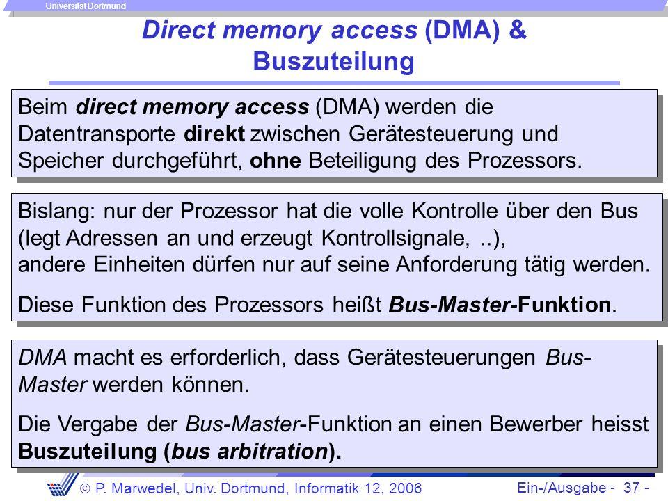 Ein-/Ausgabe - 37 - P. Marwedel, Univ. Dortmund, Informatik 12, 2006 Universität Dortmund Direct memory access (DMA) & Buszuteilung Beim direct memory