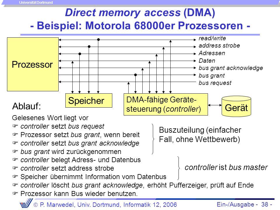 Ein-/Ausgabe - 38 - P. Marwedel, Univ. Dortmund, Informatik 12, 2006 Universität Dortmund Direct memory access (DMA) - Beispiel: Motorola 68000er Proz