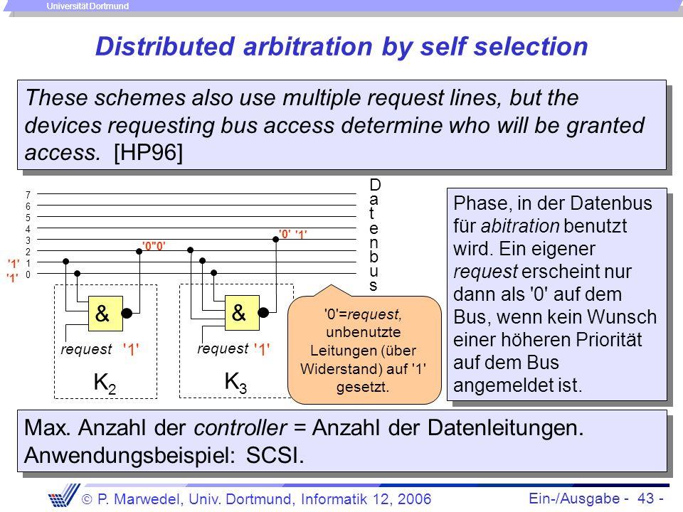 Ein-/Ausgabe - 43 - P. Marwedel, Univ. Dortmund, Informatik 12, 2006 Universität Dortmund Distributed arbitration by self selection These schemes also