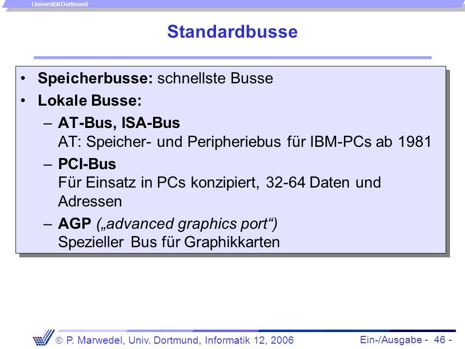 Ein-/Ausgabe - 46 - P. Marwedel, Univ. Dortmund, Informatik 12, 2006 Universität Dortmund Standardbusse Speicherbusse: schnellste Busse Lokale Busse: