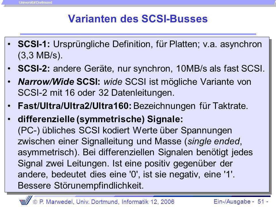 Ein-/Ausgabe - 51 - P. Marwedel, Univ. Dortmund, Informatik 12, 2006 Universität Dortmund Varianten des SCSI-Busses SCSI-1: Ursprüngliche Definition,
