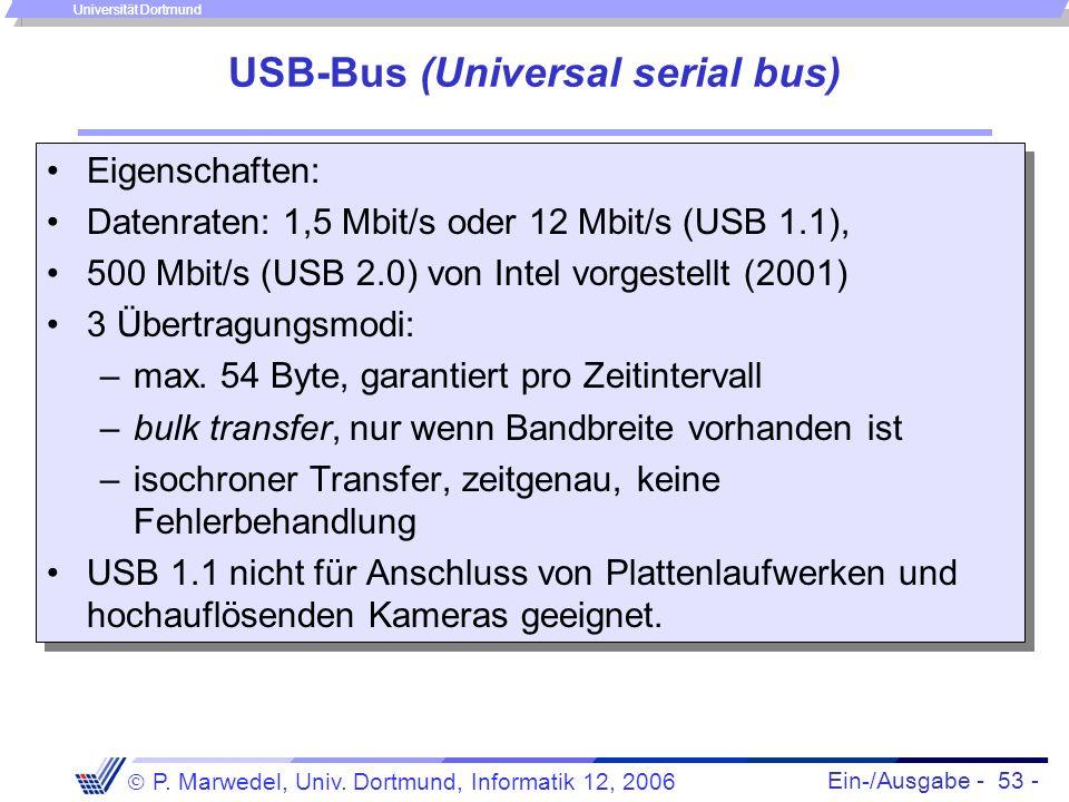 Ein-/Ausgabe - 53 - P. Marwedel, Univ. Dortmund, Informatik 12, 2006 Universität Dortmund USB-Bus (Universal serial bus) Eigenschaften: Datenraten: 1,