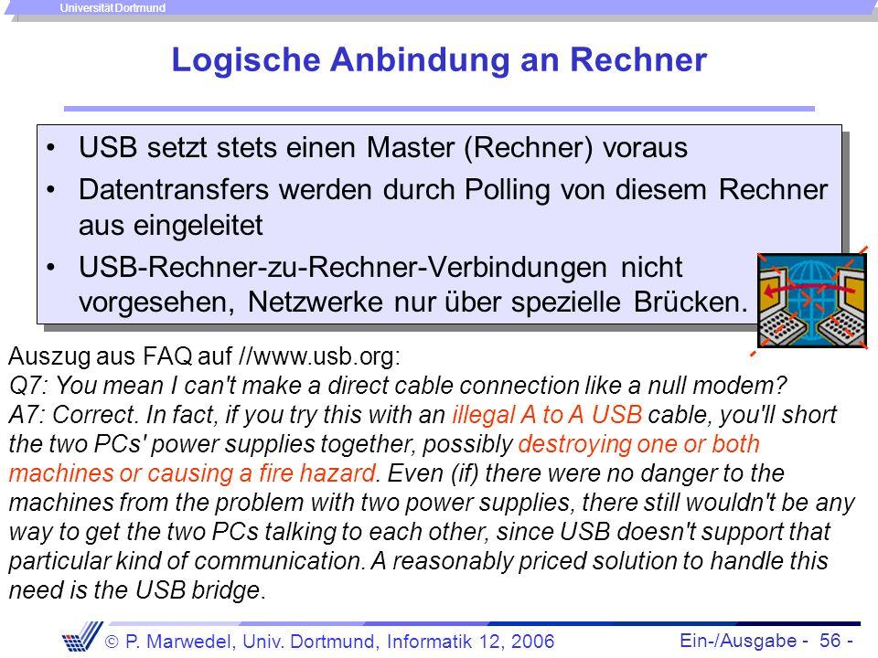 Ein-/Ausgabe - 56 - P. Marwedel, Univ. Dortmund, Informatik 12, 2006 Universität Dortmund Logische Anbindung an Rechner USB setzt stets einen Master (