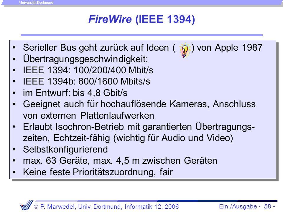 Ein-/Ausgabe - 58 - P. Marwedel, Univ. Dortmund, Informatik 12, 2006 Universität Dortmund FireWire (IEEE 1394) Serieller Bus geht zurück auf Ideen ( )