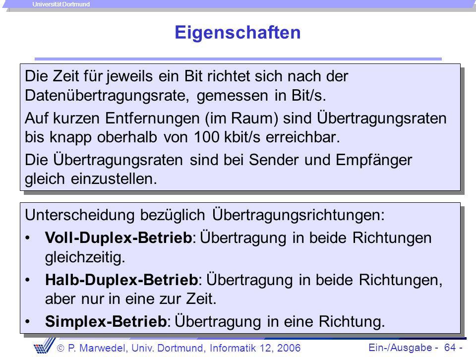 Ein-/Ausgabe - 64 - P. Marwedel, Univ. Dortmund, Informatik 12, 2006 Universität Dortmund Eigenschaften Die Zeit für jeweils ein Bit richtet sich nach