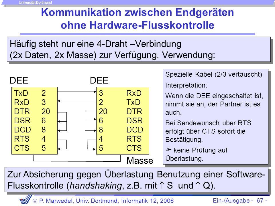 Ein-/Ausgabe - 67 - P. Marwedel, Univ. Dortmund, Informatik 12, 2006 Universität Dortmund Kommunikation zwischen Endgeräten ohne Hardware-Flusskontrol