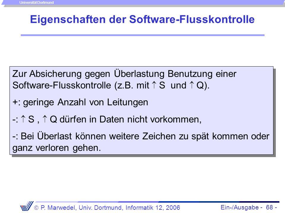 Ein-/Ausgabe - 68 - P. Marwedel, Univ. Dortmund, Informatik 12, 2006 Universität Dortmund Eigenschaften der Software-Flusskontrolle Zur Absicherung ge