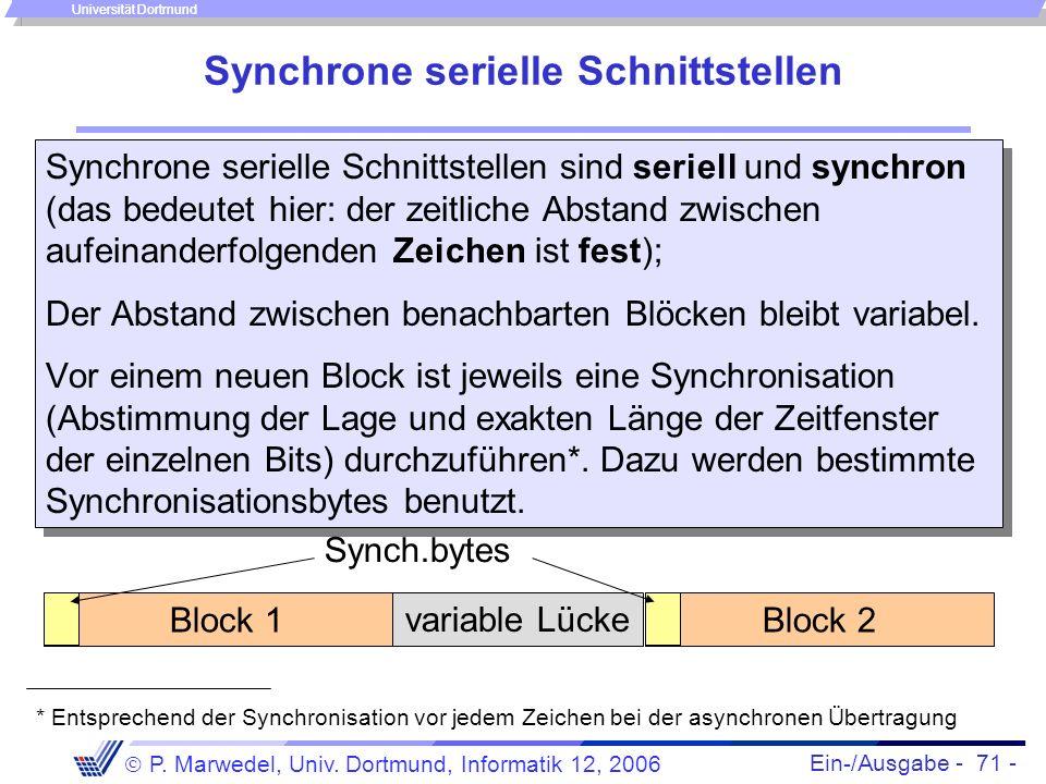 Ein-/Ausgabe - 71 - P. Marwedel, Univ. Dortmund, Informatik 12, 2006 Universität Dortmund Synchrone serielle Schnittstellen Synchrone serielle Schnitt