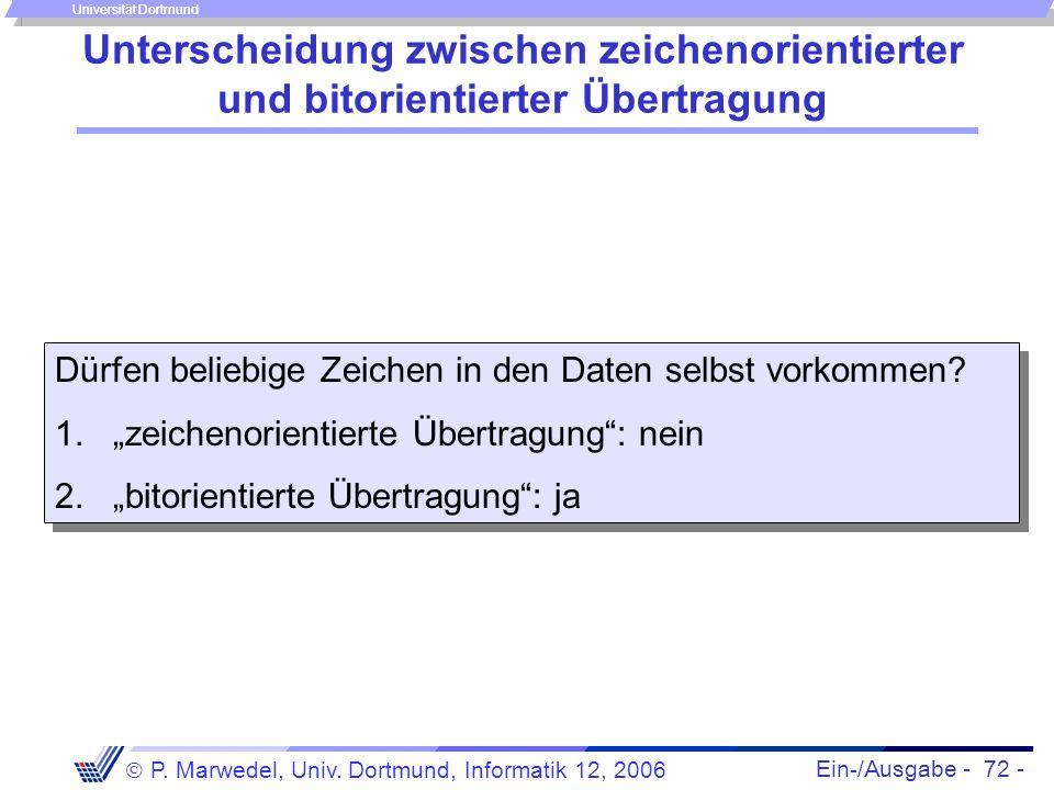 Ein-/Ausgabe - 72 - P. Marwedel, Univ. Dortmund, Informatik 12, 2006 Universität Dortmund Unterscheidung zwischen zeichenorientierter und bitorientier