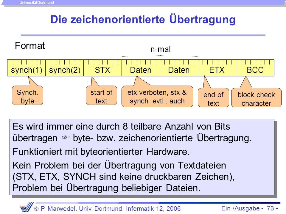 Ein-/Ausgabe - 73 - P. Marwedel, Univ. Dortmund, Informatik 12, 2006 Universität Dortmund Die zeichenorientierte Übertragung Es wird immer eine durch