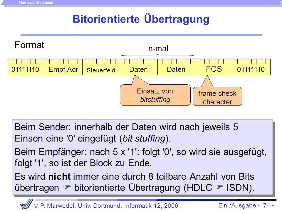 Ein-/Ausgabe - 74 - P. Marwedel, Univ. Dortmund, Informatik 12, 2006 Universität Dortmund Bitorientierte Übertragung Beim Sender: innerhalb der Daten