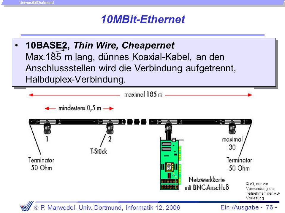 Ein-/Ausgabe - 76 - P. Marwedel, Univ. Dortmund, Informatik 12, 2006 Universität Dortmund 10MBit-Ethernet 10BASE2, Thin Wire, Cheapernet Max.185 m lan