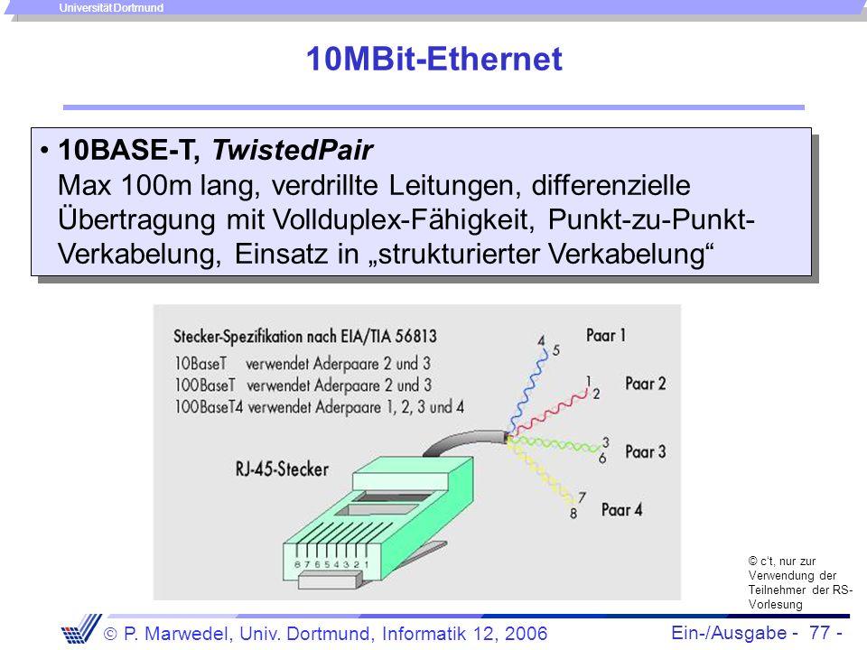 Ein-/Ausgabe - 77 - P. Marwedel, Univ. Dortmund, Informatik 12, 2006 Universität Dortmund 10MBit-Ethernet 10BASE-T, TwistedPair Max 100m lang, verdril