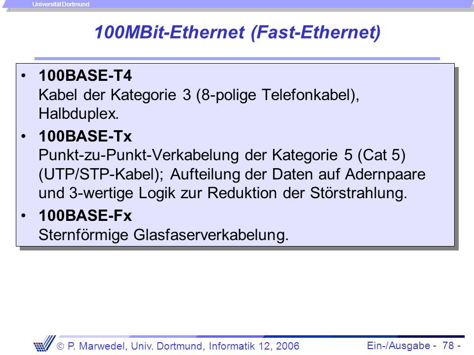 Ein-/Ausgabe - 78 - P. Marwedel, Univ. Dortmund, Informatik 12, 2006 Universität Dortmund 100MBit-Ethernet (Fast-Ethernet) 100BASE-T4 Kabel der Katego