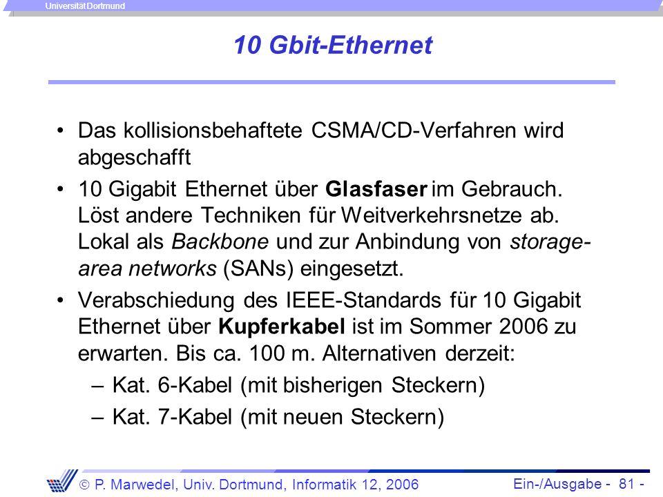 Ein-/Ausgabe - 81 - P. Marwedel, Univ. Dortmund, Informatik 12, 2006 Universität Dortmund 10 Gbit-Ethernet Das kollisionsbehaftete CSMA/CD-Verfahren w