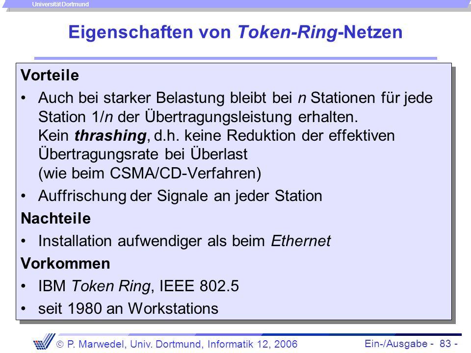 Ein-/Ausgabe - 83 - P. Marwedel, Univ. Dortmund, Informatik 12, 2006 Universität Dortmund Eigenschaften von Token-Ring-Netzen Vorteile Auch bei starke