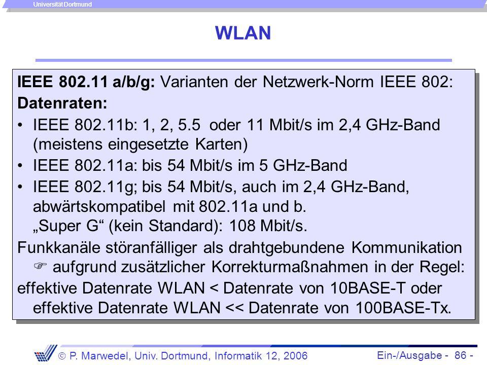 Ein-/Ausgabe - 86 - P. Marwedel, Univ. Dortmund, Informatik 12, 2006 Universität Dortmund WLAN IEEE 802.11 a/b/g: Varianten der Netzwerk-Norm IEEE 802
