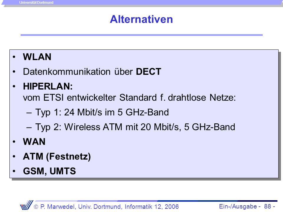 Ein-/Ausgabe - 88 - P. Marwedel, Univ. Dortmund, Informatik 12, 2006 Universität Dortmund Alternativen WLAN Datenkommunikation über DECT HIPERLAN: vom