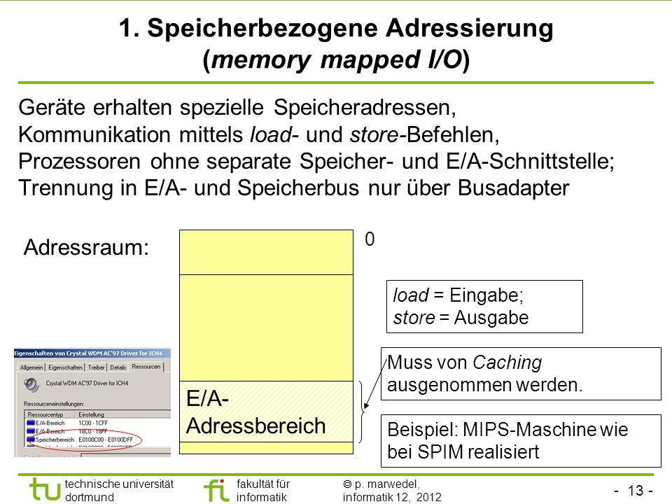 - 13 - technische universität dortmund fakultät für informatik p. marwedel, informatik 12, 2012 1. Speicherbezogene Adressierung (memory mapped I/O) G