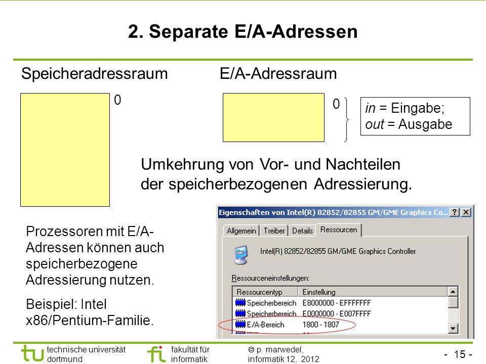 - 15 - technische universität dortmund fakultät für informatik p. marwedel, informatik 12, 2012 2. Separate E/A-Adressen SpeicheradressraumE/A-Adressr