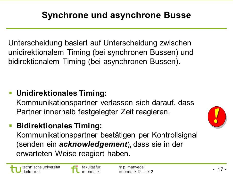 - 17 - technische universität dortmund fakultät für informatik p. marwedel, informatik 12, 2012 Synchrone und asynchrone Busse Unterscheidung basiert
