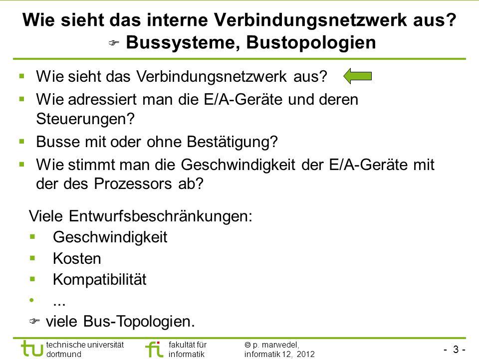 - 3 - technische universität dortmund fakultät für informatik p. marwedel, informatik 12, 2012 Wie sieht das interne Verbindungsnetzwerk aus? Bussyste