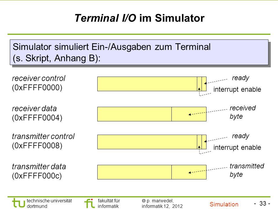 - 33 - technische universität dortmund fakultät für informatik p. marwedel, informatik 12, 2012 Terminal I/O im Simulator Simulator simuliert Ein-/Aus