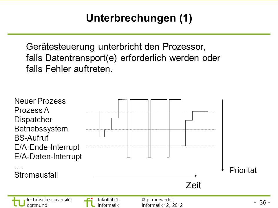 - 36 - technische universität dortmund fakultät für informatik p. marwedel, informatik 12, 2012 Unterbrechungen (1) Gerätesteuerung unterbricht den Pr