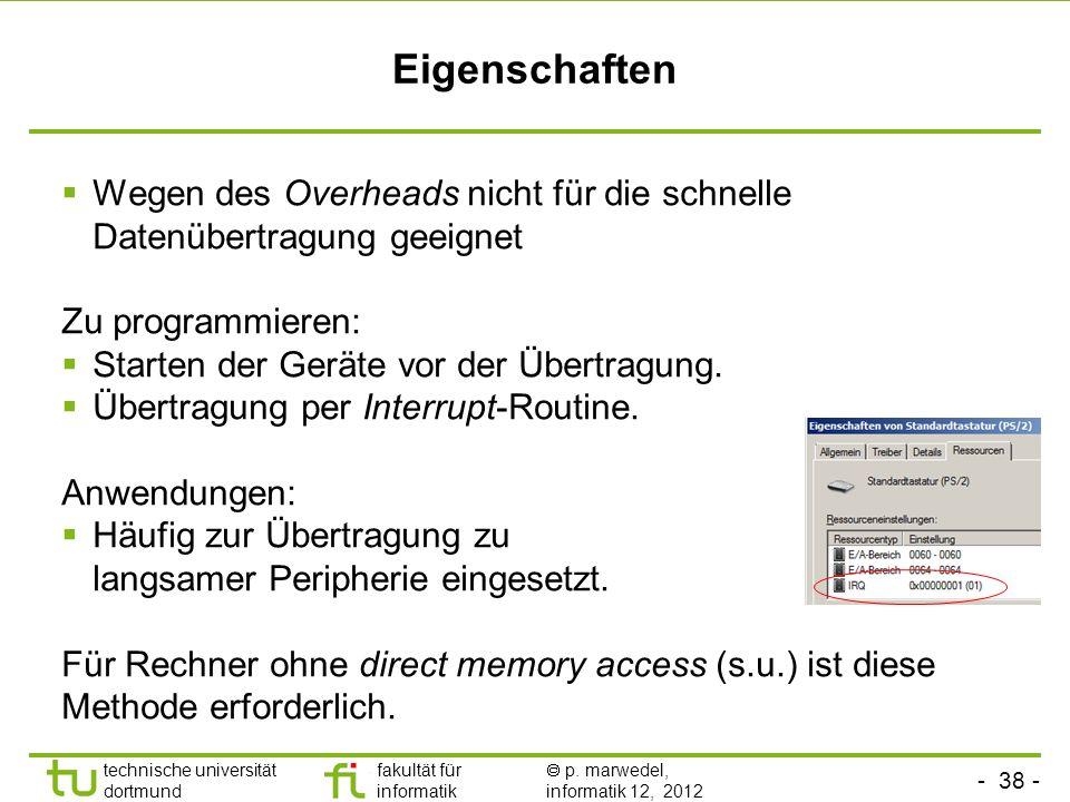 - 38 - technische universität dortmund fakultät für informatik p. marwedel, informatik 12, 2012 Eigenschaften Wegen des Overheads nicht für die schnel