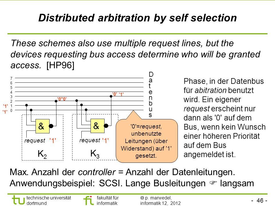 - 46 - technische universität dortmund fakultät für informatik p. marwedel, informatik 12, 2012 Distributed arbitration by self selection These scheme