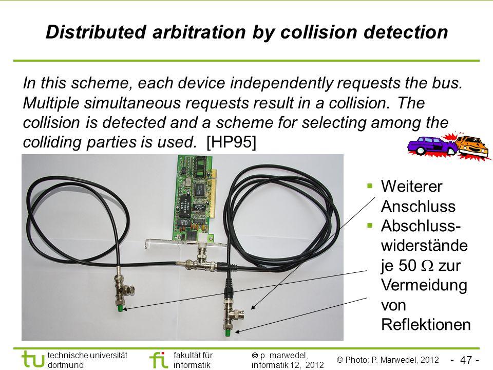 - 47 - technische universität dortmund fakultät für informatik p. marwedel, informatik 12, 2012 Distributed arbitration by collision detection In this