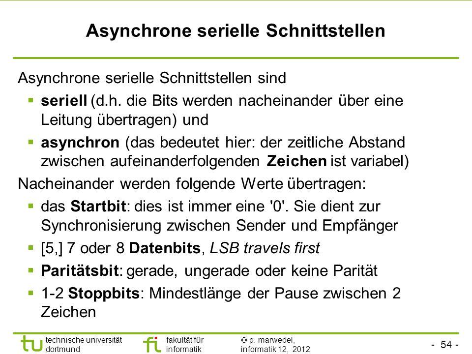 - 54 - technische universität dortmund fakultät für informatik p. marwedel, informatik 12, 2012 Asynchrone serielle Schnittstellen Asynchrone serielle