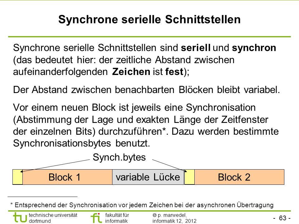 - 63 - technische universität dortmund fakultät für informatik p. marwedel, informatik 12, 2012 Synchrone serielle Schnittstellen Synchrone serielle S