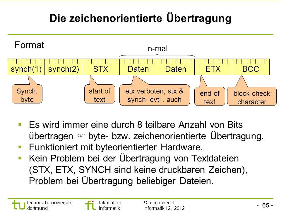 - 65 - technische universität dortmund fakultät für informatik p. marwedel, informatik 12, 2012 Die zeichenorientierte Übertragung Es wird immer eine