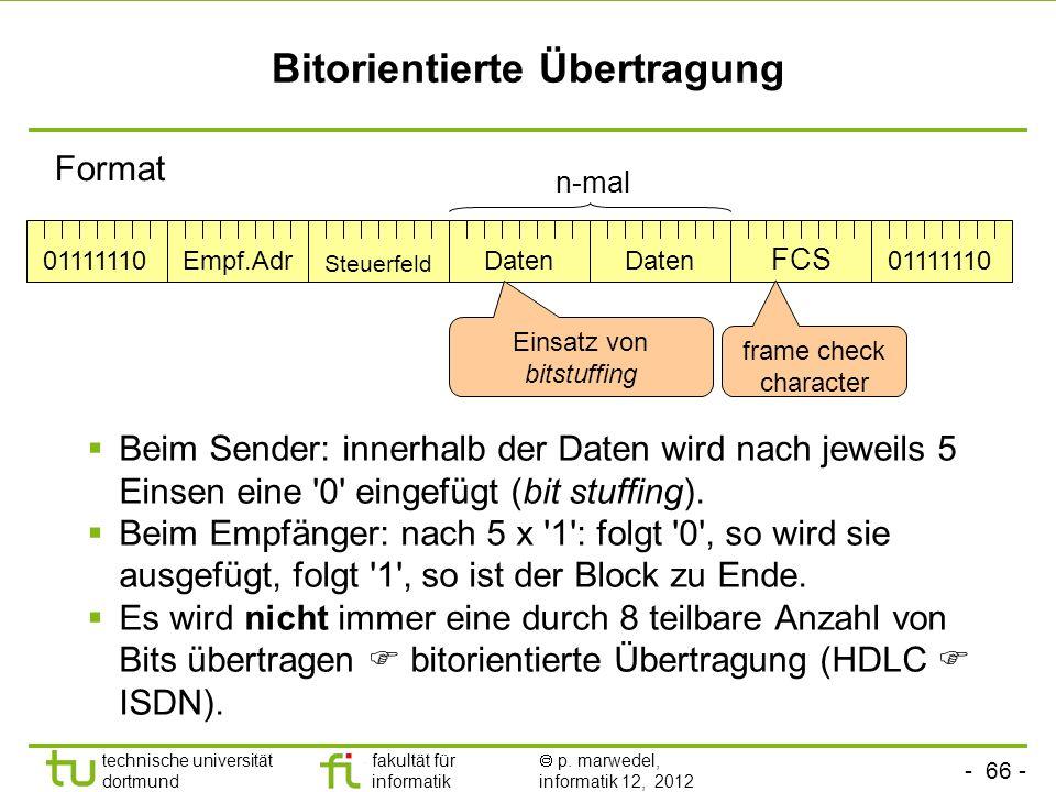 - 66 - technische universität dortmund fakultät für informatik p. marwedel, informatik 12, 2012 Bitorientierte Übertragung Beim Sender: innerhalb der