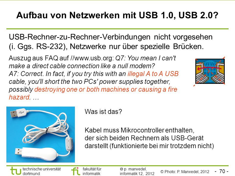 - 70 - technische universität dortmund fakultät für informatik p. marwedel, informatik 12, 2012 Aufbau von Netzwerken mit USB 1.0, USB 2.0? USB-Rechne